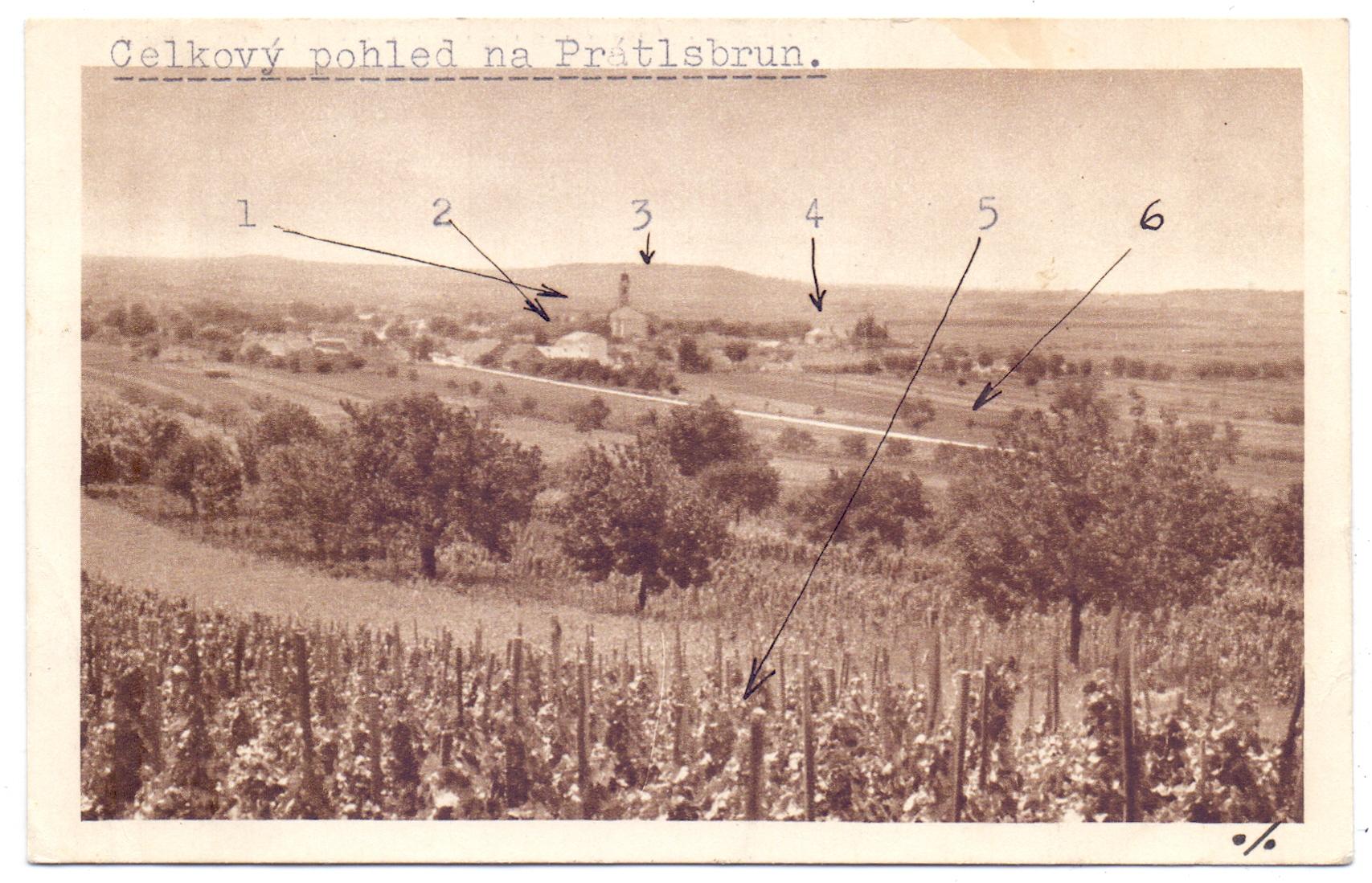 Prátlsbrun - pohlednice, přední strana, neprošlá poštou. Zdroj: Peter Frank, Stuttgart – sbírka Mušov