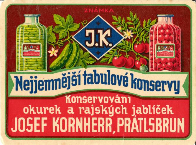 Etiketa: Josef Kornherr, Prátlsbrun. Zdroj: sbírka autora