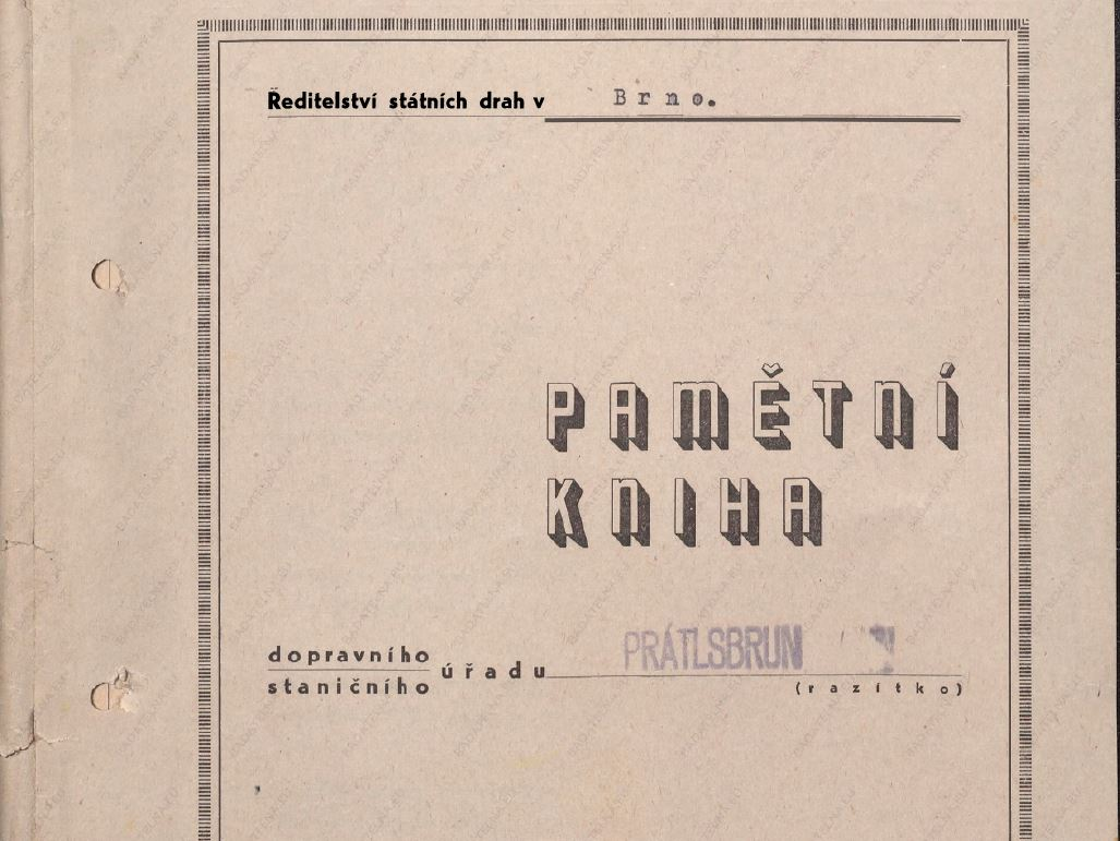Pamětní kniha dopravního staničního úřadu Prátlsbrun - zdroj: Badatelna.eu