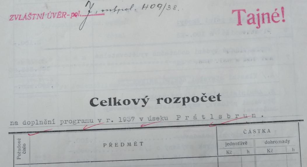 Celkový rozpočet na výstavbu opevnění, úsek 10 - Prátlsbrun - rok 1938