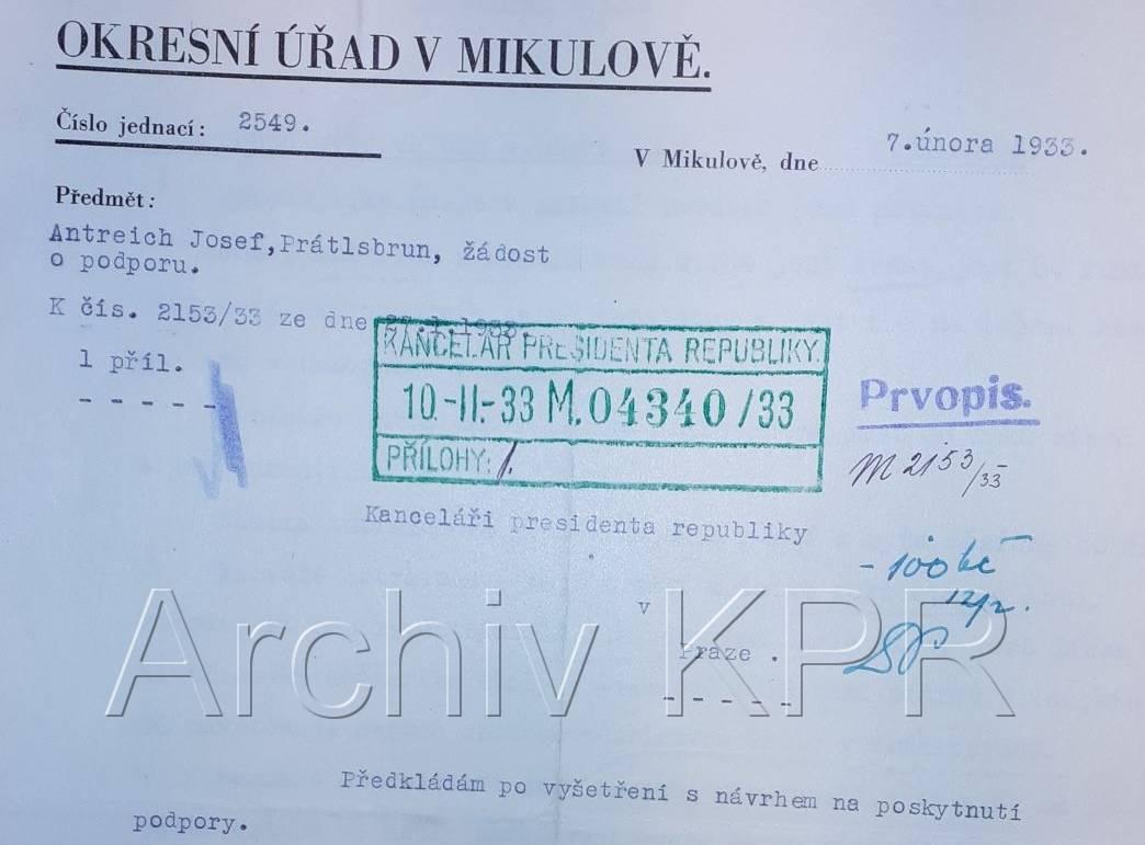 Josef Antreich, nezaměstnaný zedník, Prátlsbrun, zdroj: Archiv Kanceláře prezidenta republiky